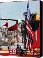 Paul Walsh Canvas Prints - FDNY ENGINE 59 American Flag Canvas Print by Paul Walsh