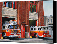 House Painting Canvas Prints - FDNY Engine 88 and Ladder 38 Canvas Print by Paul Walsh