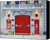 Red Door Canvas Prints - FDNY Engine Company 65 Canvas Print by Paul Walsh