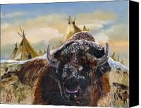 Buffalo Mixed Media Canvas Prints - Feed the Fire Canvas Print by J W Baker