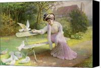 Sat Canvas Prints - Feeding the Doves  Canvas Print by Edmond Alphonse Defonte