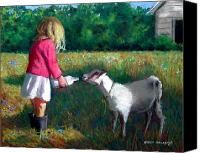 Goat Pastels Canvas Prints - Feeding The Pet Goat Canvas Print by Joyce Geleynse
