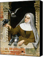 Nun Canvas Prints - Feeding the Pigeons Canvas Print by Eugen von Blaas