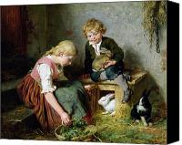 Kid Painting Canvas Prints - Feeding the Rabbits Canvas Print by Felix Schlesinger