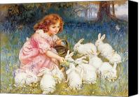 Leaves Painting Canvas Prints - Feeding the Rabbits Canvas Print by Frederick Morgan