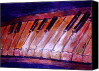 Schubert Canvas Prints - Feeling the Blues on Piano in Magenta Orange Red in D Major with Black and White Keys of Music Canvas Print by M Zimmerman MendyZ