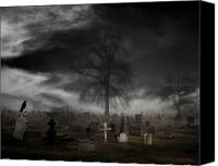 Eerie Canvas Prints - Feels Like Halloween Canvas Print by Gothicolors With Crows