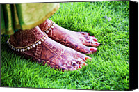 Red Clothing Canvas Prints - Feet With Mehndi On Grass Canvas Print by Athul Krishnan (www.athul.in)