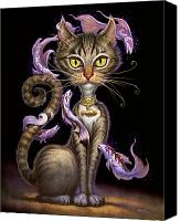 Animals Painting Canvas Prints - Feline Fantasy Canvas Print by Jeff Haynie