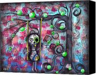 Sugar Skull Painting Canvas Prints - Felipe Canvas Print by  Abril Andrade Griffith