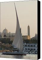 On-the-look-out Canvas Prints - Felucca on the Nile Canvas Print by Darcy Michaelchuk