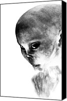 Grey Canvas Prints - Female Alien Portrait Canvas Print by Bob Orsillo