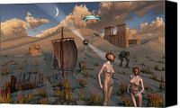 Artificial Intelligence Canvas Prints - Female Explorers Study Ancient Egyptian Canvas Print by Mark Stevenson