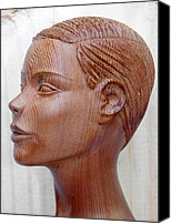 Sculpture By C Baez Barrueto Sculpture Canvas Prints - Female Head Bust - Side View Canvas Print by Carlos Baez Barrueto