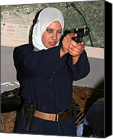 Civilians Canvas Prints - Female Iraqi Police Officers Practice Canvas Print by Everett