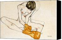 Watercolor On Paper Canvas Prints - Female Nude Canvas Print by Egon Schiele