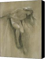 Girls Pastels Canvas Prints - Female Nude Study  Canvas Print by John Robert Dicksee