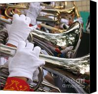 Brass Band Canvas Prints - Female Trumpet Players Canvas Print by Yali Shi