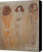 Female Figure  Drawings Canvas Prints - Females Posing Canvas Print by Lj Lambert