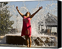 Joyful Canvas Prints - Femme Fountain Canvas Print by Al Powell Photography USA