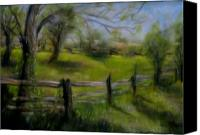 Rural Scenes Pastels Canvas Prints - Fence Line Canvas Print by Wendie Thompson