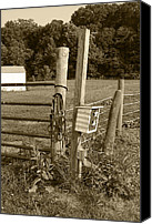 Rural Scenes Photo Canvas Prints - Fence Post Canvas Print by Jennifer Lyon