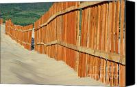 Sand Fences Canvas Prints - Fenced sand dunes at the beach in Tarifa Canvas Print by Sami Sarkis