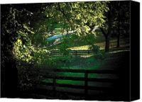 Rural Scenes Canvas Prints - Fences on the Farm Canvas Print by Joyce L Kimble