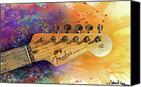 Watercolor Canvas Prints - Fender Head Canvas Print by Andrew King