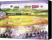 Major League Baseball Painting Canvas Prints - Fenway Park Canvas Print by Joseph Gallant