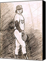 Baseball Drawings Canvas Prints - Fernando Valenzuela Canvas Print by Mel Thompson