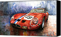 Gto Painting Canvas Prints - Ferrari 250 GTO 1963 Canvas Print by Yuriy  Shevchuk