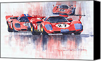 1970 Canvas Prints - Ferrari 512 S 1970 24 Hours of Daytona Canvas Print by Yuriy  Shevchuk