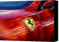 Sports Car Canvas Prints - Ferrari Badge Canvas Print by David Kyte