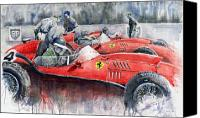 Mike Painting Canvas Prints - Ferrari Dino 246 F1 1958 Mike Hawthorn French GP  Canvas Print by Yuriy  Shevchuk