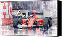 Racing Car Canvas Prints - Ferrari F1 Jean Alesi Phoenix US GP Arizona 1991 Canvas Print by Yuriy  Shevchuk