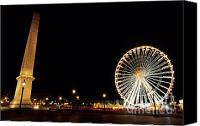 Public Square Canvas Prints - Ferris Wheel and Luxor Obelisk in the Concorde Plaza in Paris Canvas Print by Sami Sarkis