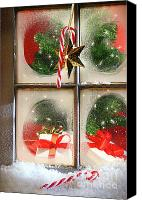 Cane Canvas Prints - Festive holiday window Canvas Print by Sandra Cunningham