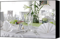 Wedding Preparation Canvas Prints - Festive Table In A Restaurant Canvas Print by Stock4b-rf