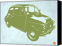 Old Digital Art Canvas Prints - Fiat 500 Canvas Print by Irina  March
