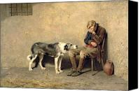 Man Painting Canvas Prints - Fidelity Canvas Print by Briton Riviere