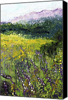 Landscapes Pastels Canvas Prints - Field of Flowers Canvas Print by David Patterson