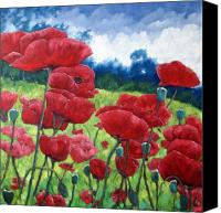 Prankearts Canvas Prints - Field Of Poppies Canvas Print by Richard T Pranke
