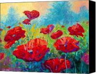 Autumn Canvas Prints - Field Of Red Poppies Canvas Print by Marion Rose