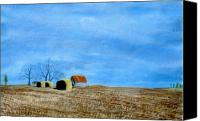 Rural Landscapes Pastels Canvas Prints - Fields At Rest Canvas Print by Jan Amiss