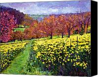 Most Sold Canvas Prints - Fields of Golden Daffodils Canvas Print by David Lloyd Glover