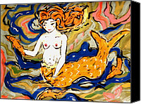 Beaches Ceramics Canvas Prints - Fiery Mermaid Canvas Print by Patricia Lazar