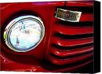 View Askew Canvas Prints - Fiery Red Truck Canvas Print by Katherine Adams