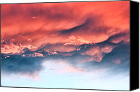 Grey Clouds Canvas Prints - Fiery Storm Clouds Canvas Print by Tracie Kaska
