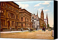 Horse And Buggies Canvas Prints - Fifth Avenue and 51st Street New York City 1900 Canvas Print by Padre Art